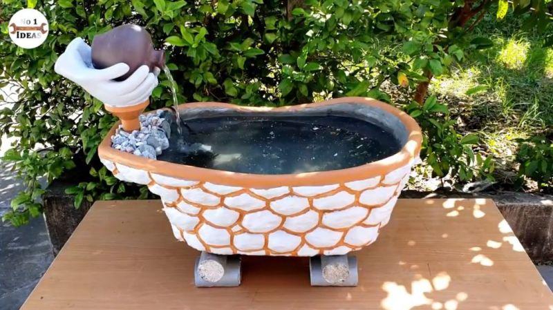 用婴儿浴盆改造鱼缸